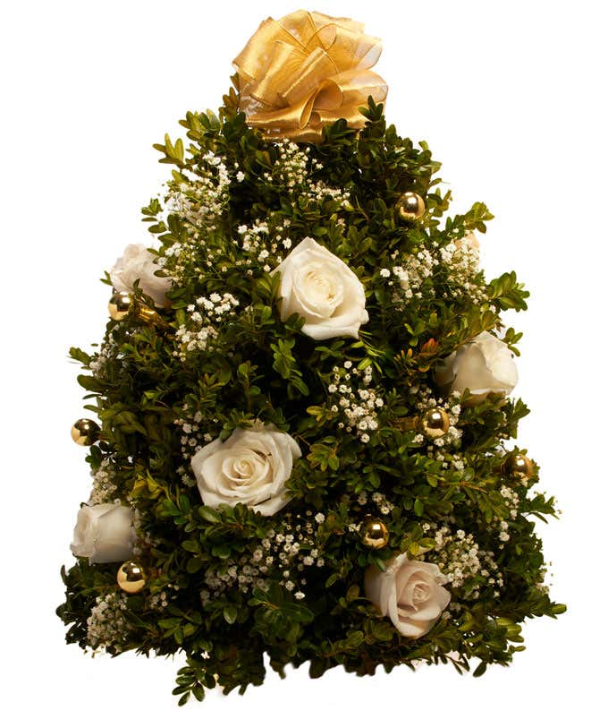 Mini Christmas Tree with Cream roses and gold decorations