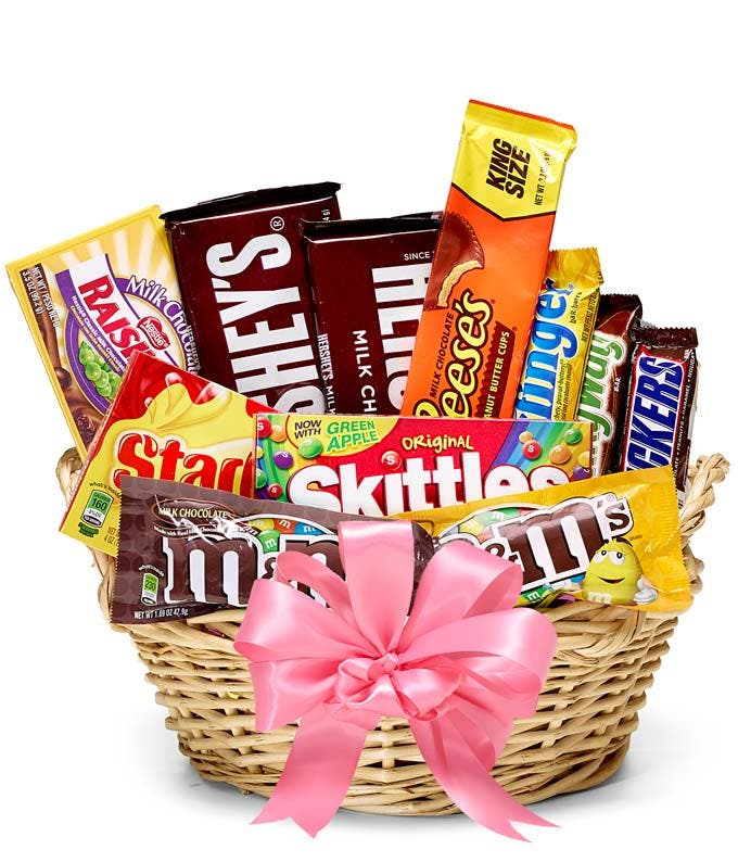 Candy Delivered In A Basket With Pink Bow