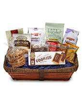 Different cookie varieties delivered in a woven basket