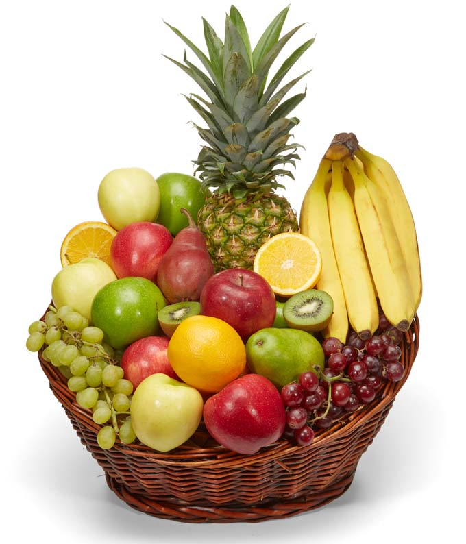 A variety of fruit for delivery in a basket