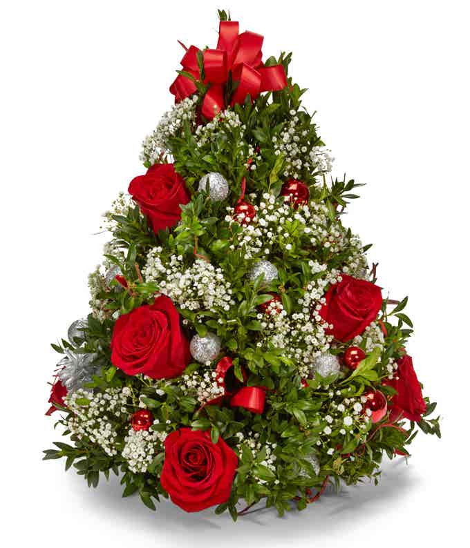 Mini christmas tree with ornaments for delivery