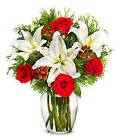 Shining Red Rose and Lily Christmas Bouquet