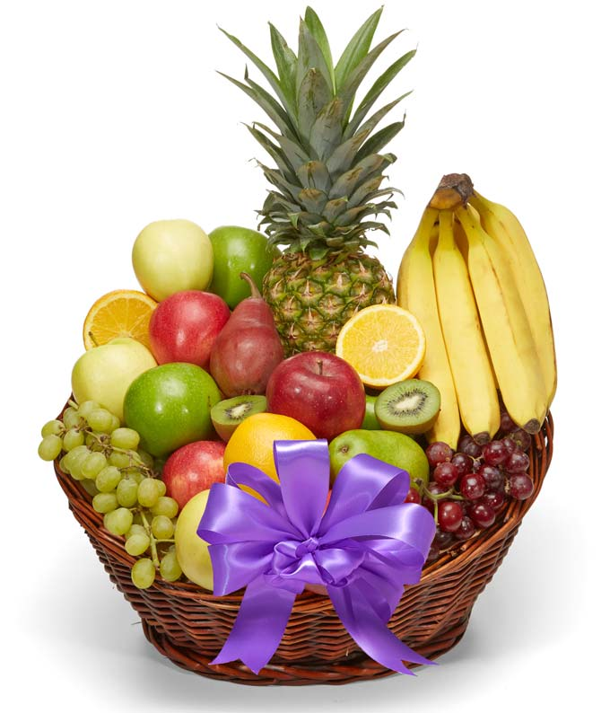 Purple bow on fruit basket delivery