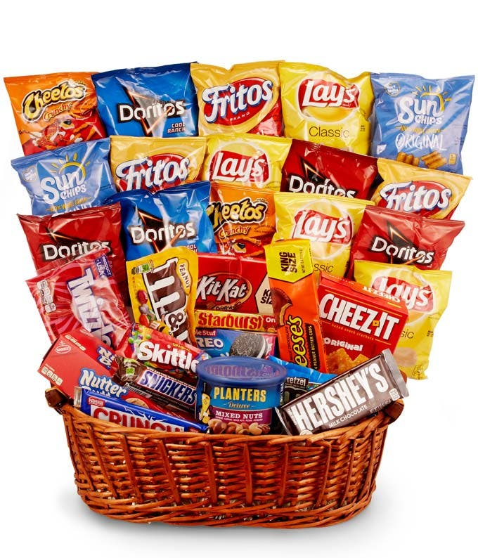 Chips Candy More Gift Basket Available For Delivery
