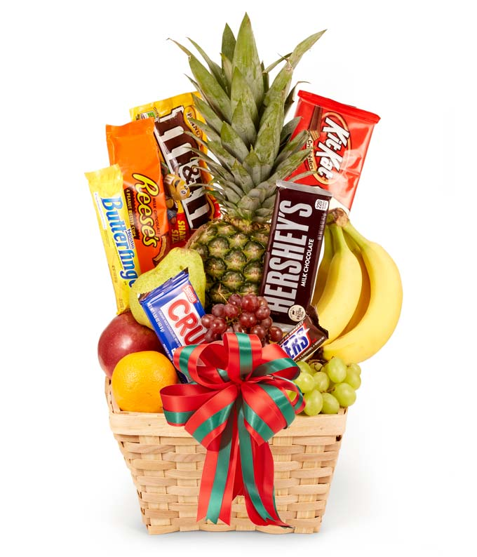Christmas candy basket with fruit