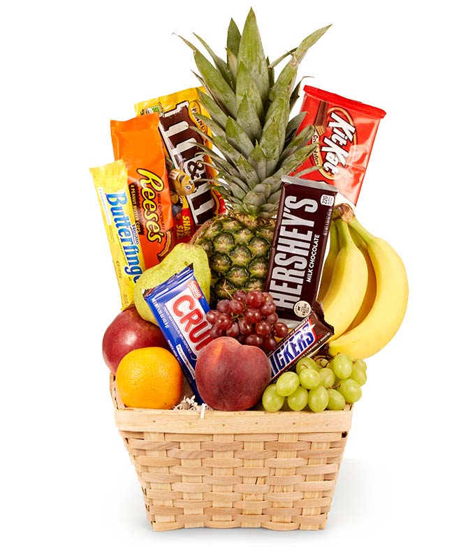 Fresh Fruit Basket With Candy Available For Delivery Same Day And Chocolate Gift