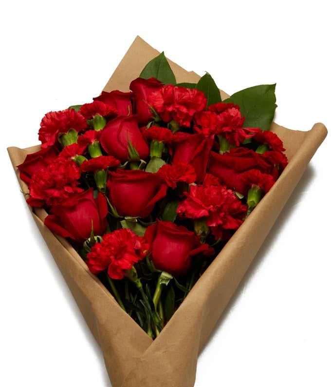 All red flower parchment arrangement