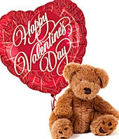 Valentine's Day Teddy Bear and Balloon