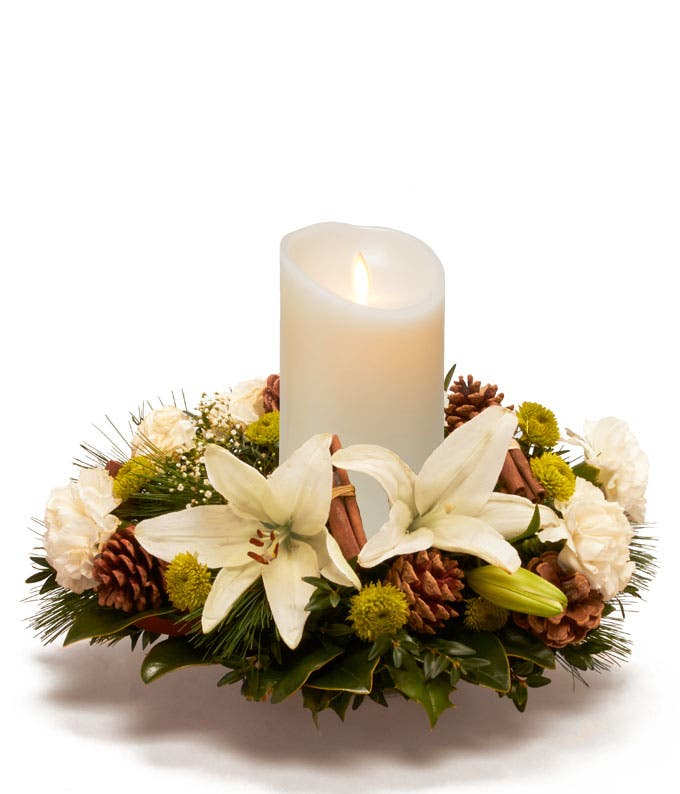 White Lily & Pine Cone Centerpiece