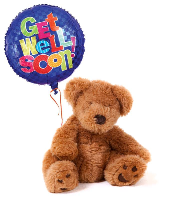 Get well soon balloon delivered with teddy bear