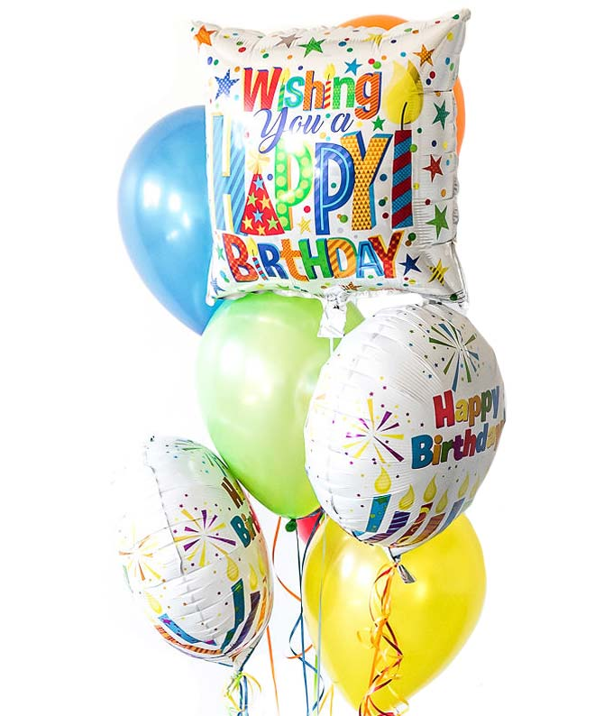 Birthday latex and mylar balloon bouquet
