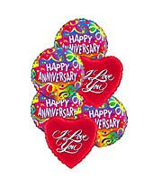 Happy anniversary balloons delivered with i love you balloons
