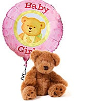 Baby girl balloon with teddy bear