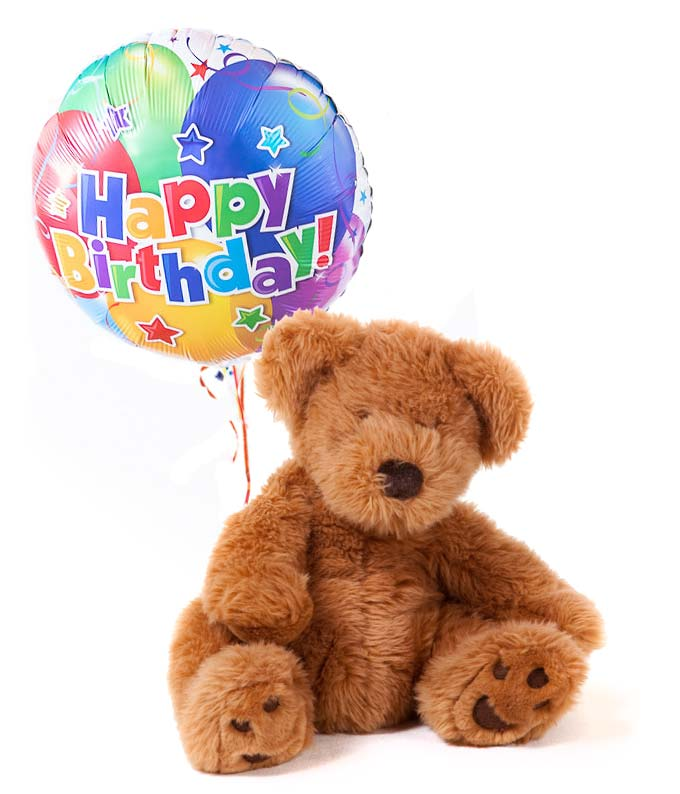 Happy Birthday Balloon Delivered With Teddy Bear