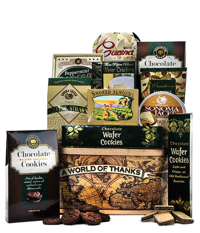 Thank you gift with almonds, crackers, cookies, popcorn and more