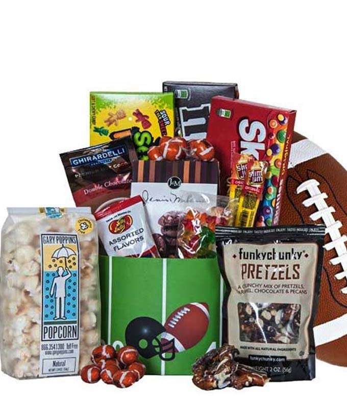 Football, chocolate and treat gift basket