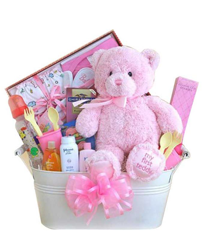New baby girl teddy bear gift basket
