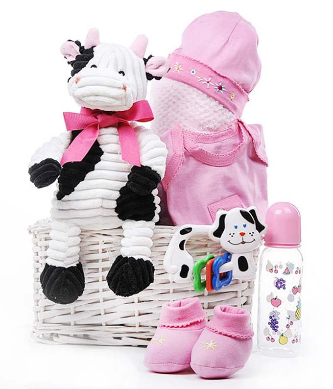 New baby girl cow gift basket