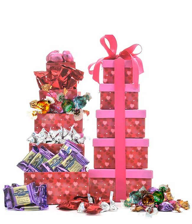 Romantic chocolate gift tower