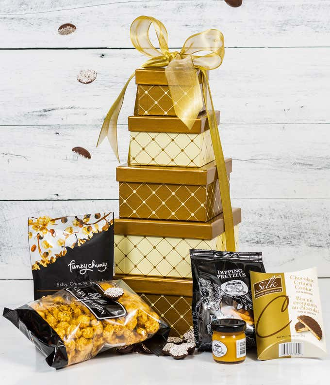Gourmet popcorn and candy basket