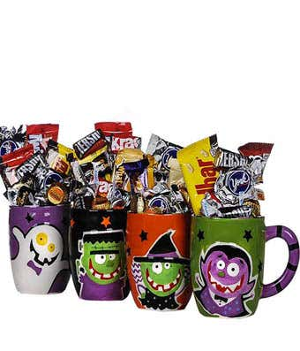 Halloween mug gift filled with chocolate