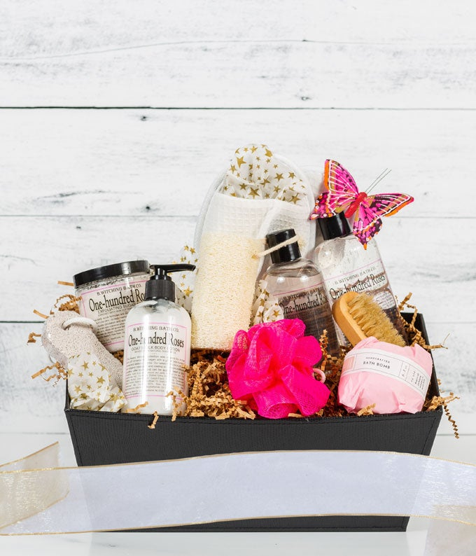 One Hundred Roses Spa Basket