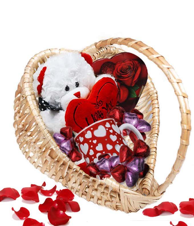 Valentines Bear Basket