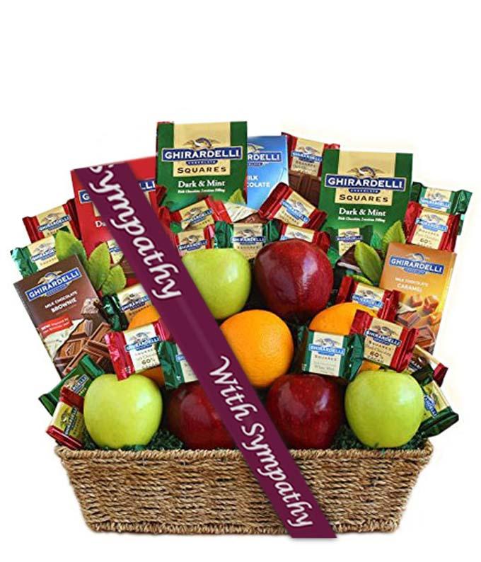 Ghirardelli Chocolate & Fruit Sympathy Gift Basket
