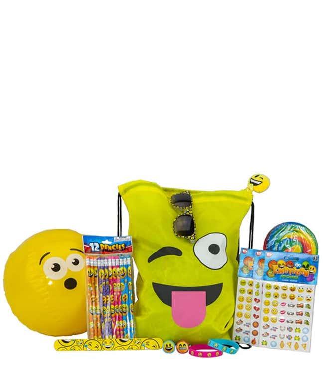 Enjoy gift basket with Emoji stickers, Emoji pencils and more