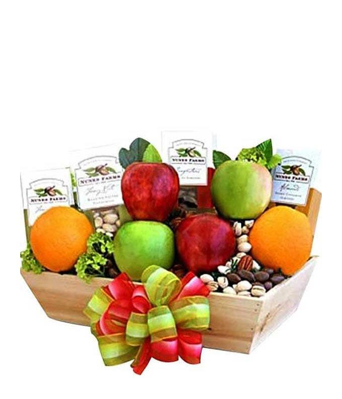 Healty gift basket with fruit and nuts