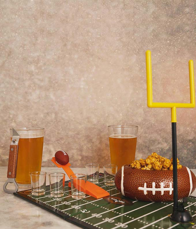 Football tailgate gift basket