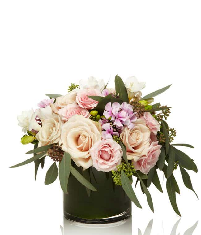 Champagne roses arranged in cylinder vase with light pink roses and white freesia