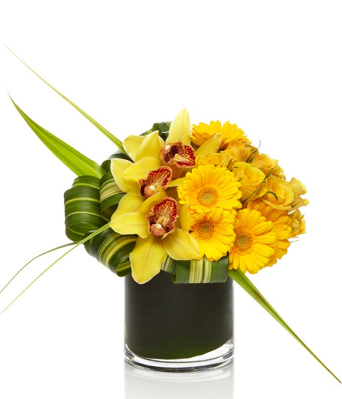 yellow roses and yellow cymbal orchid bouquet