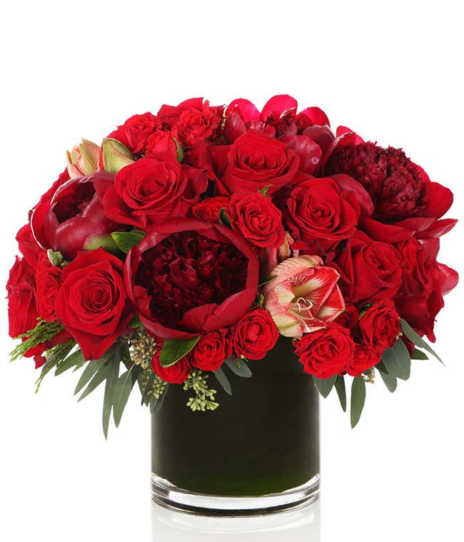 Red roses and Amaryllis in a cylinder glass vase