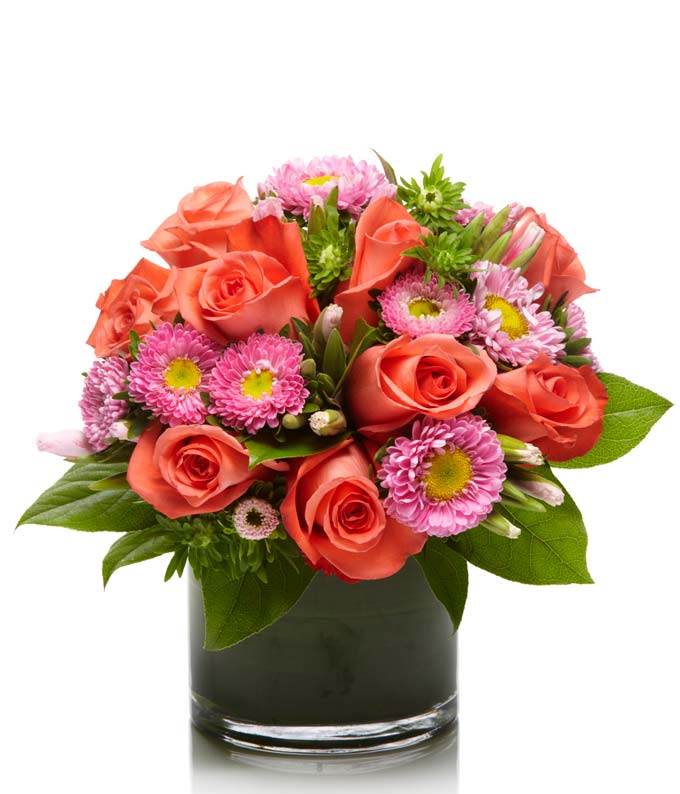 Peach roses and pink asters bouquet