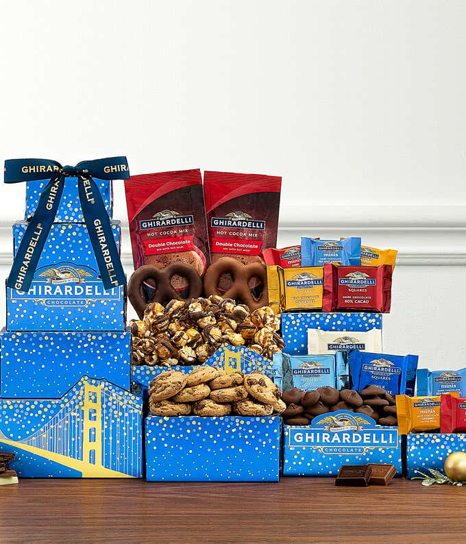 Ghirardelli Christmas chocolate gift basket