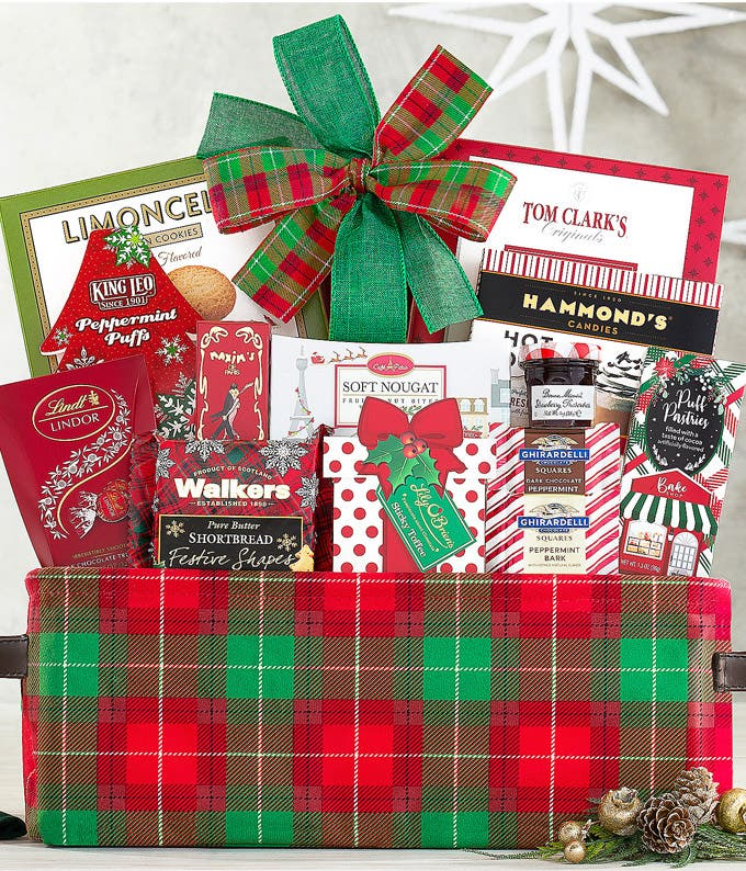 Popcorn, chocolate, hot cocoa and more Christmas food basket