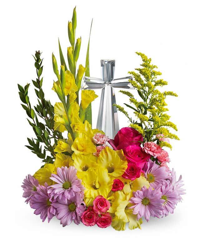 Sympathy Cross Colorful flower arrangement