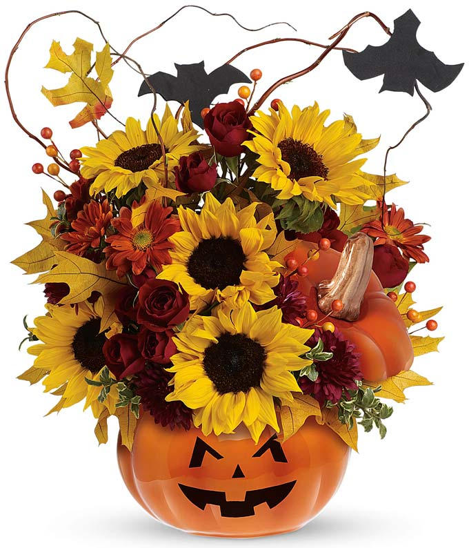 Jack-O-Latern flower pumpkin bouquet