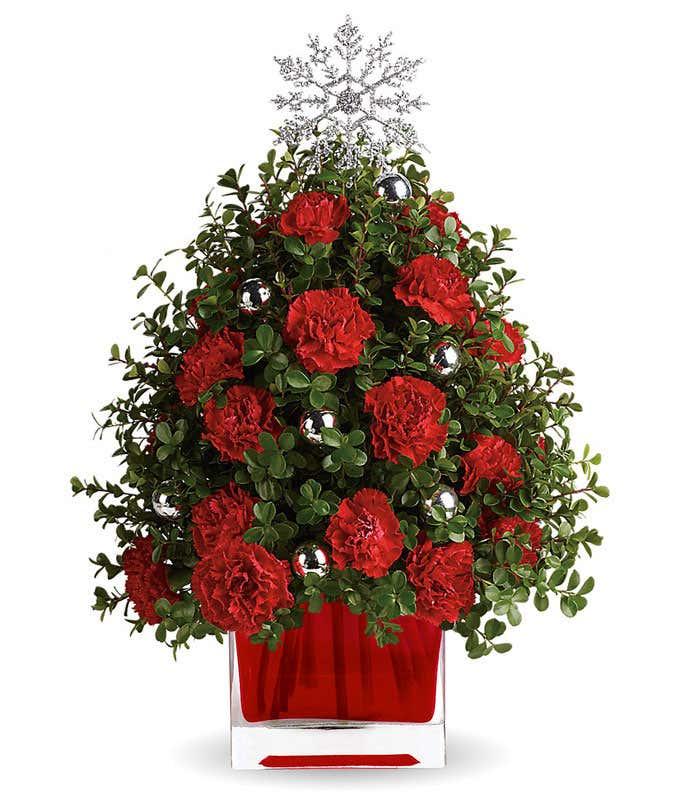 Red carnation mini Christmas tree
