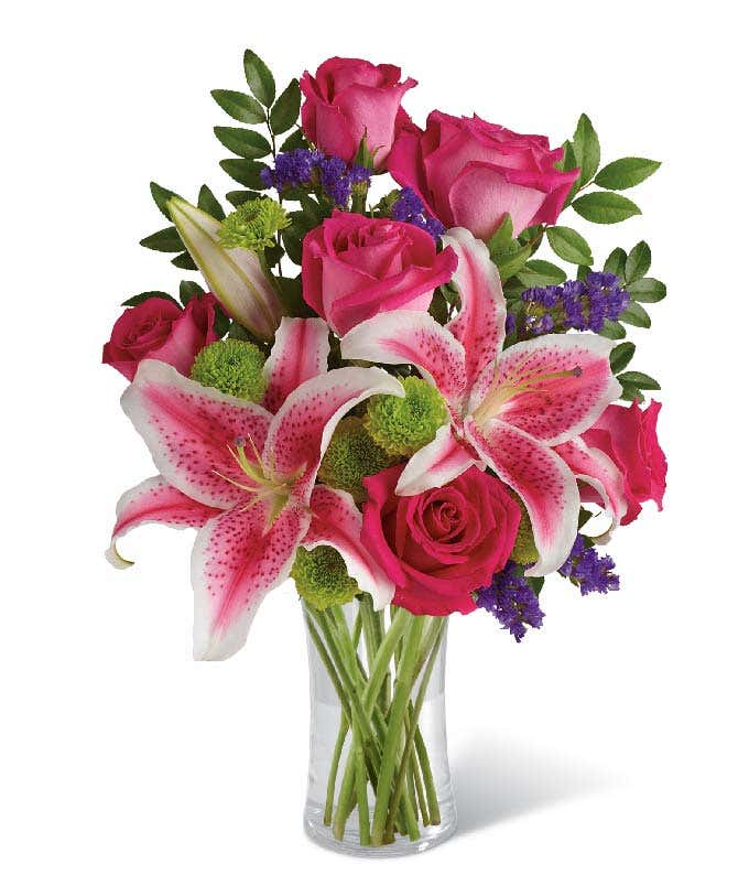 Pink roses and pink stargazer lily arrangement