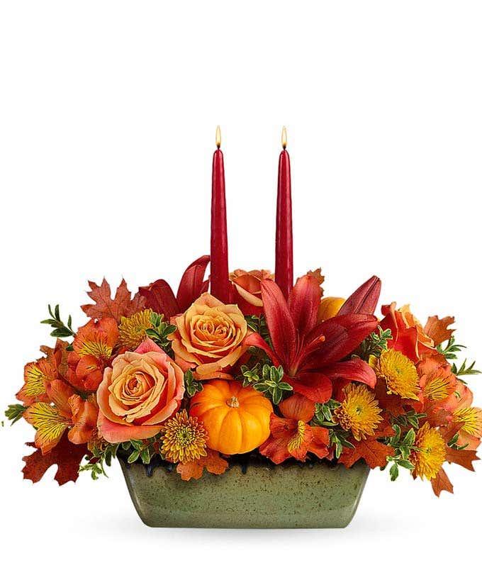 Flower and Pumpkin Candle Centerpiece