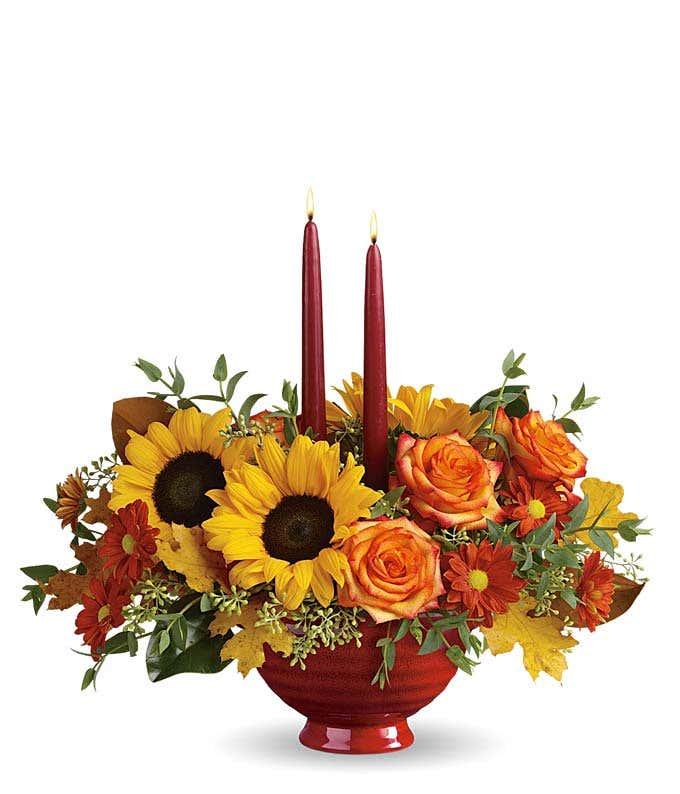 Burgundy flower candle centerpiece