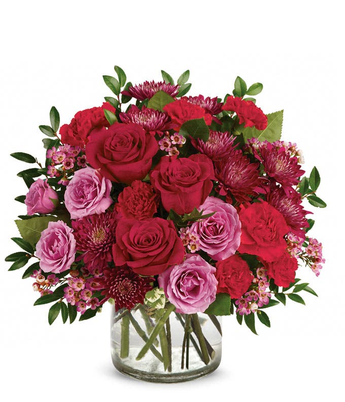 Valentine red rose, red carnation and purple chrysanthemums bouquet