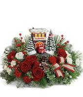 Thomas Kinkade's Festive Fire Station Centerpiece