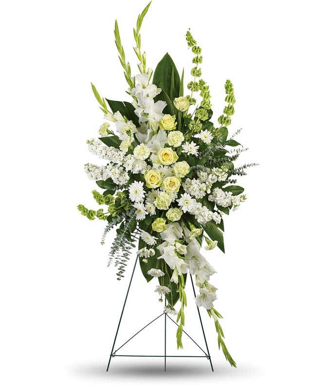 White and green flower sympathy standing spray