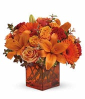 Sunrise Sunset - Orange Roses, Gerberas, Red Carnations: From You Flowers