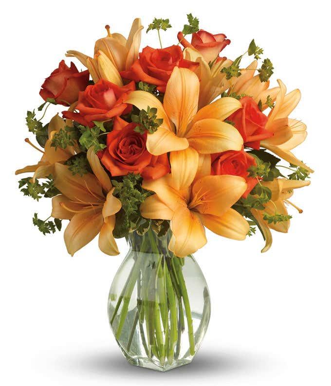 Orange rose and Orange lily bouquet