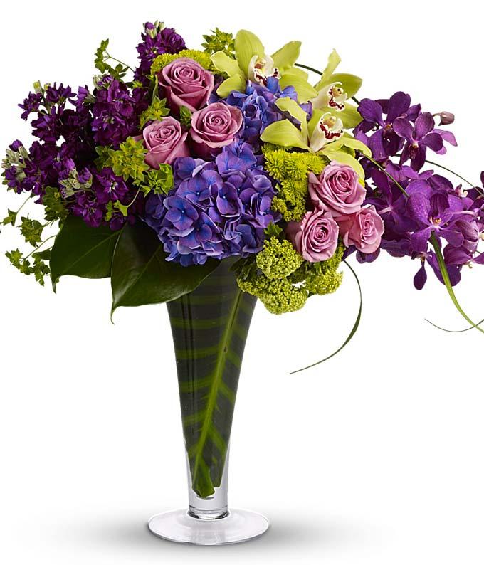 Purple Orchids and Purple Rose bouquet