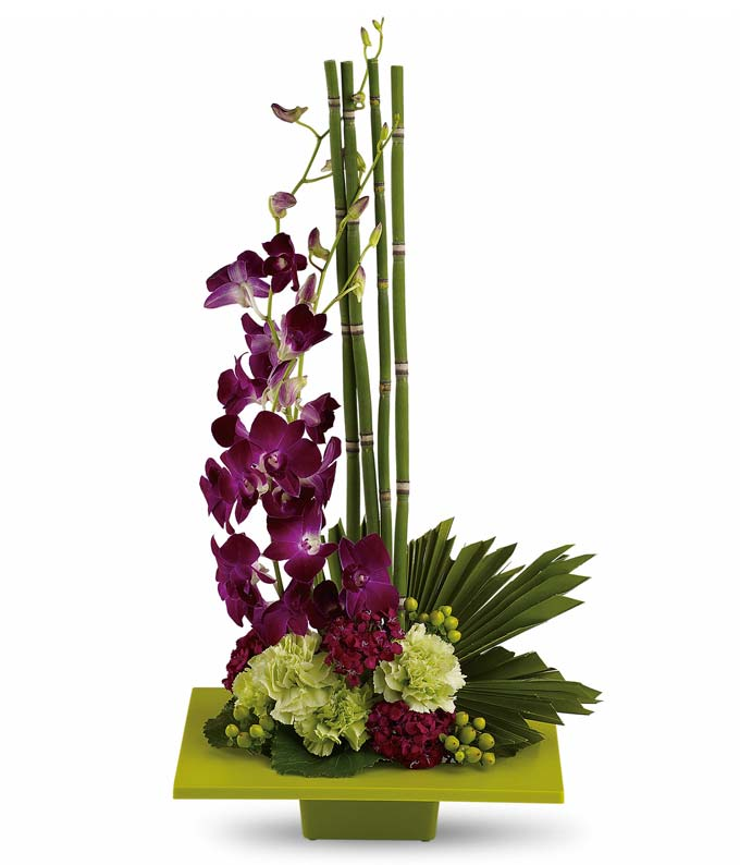 Zen Artistry: Orchid & Exotic Flower Arrangement-FromYouFlowers.com